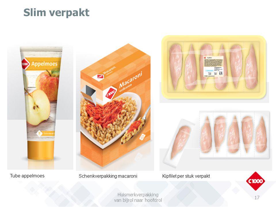 Slim verpakt 17 Tube appelmoes Schenkverpakking macaroniKipfilet per stuk verpakt Huismerkverpakking van bijrol naar hoofdrol