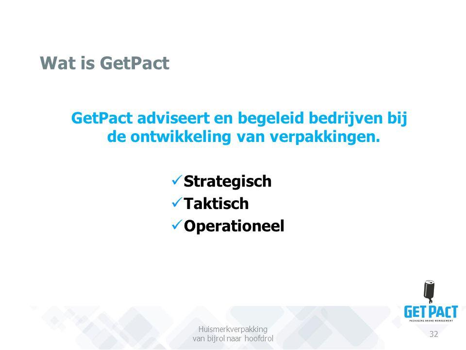 Wat is GetPact Huismerkverpakking van bijrol naar hoofdrol 32 GetPact adviseert en begeleid bedrijven bij de ontwikkeling van verpakkingen. Strategisc