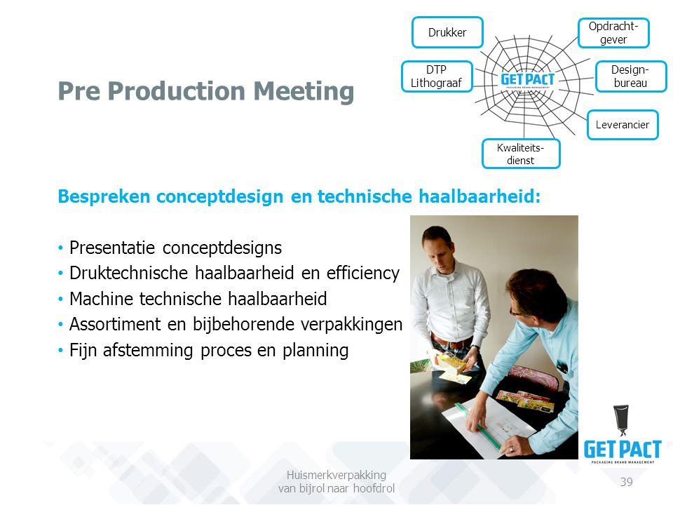 Pre Production Meeting Huismerkverpakking van bijrol naar hoofdrol 39 Drukker Design- bureau Leverancier DTP Lithograaf Bespreken conceptdesign en tec