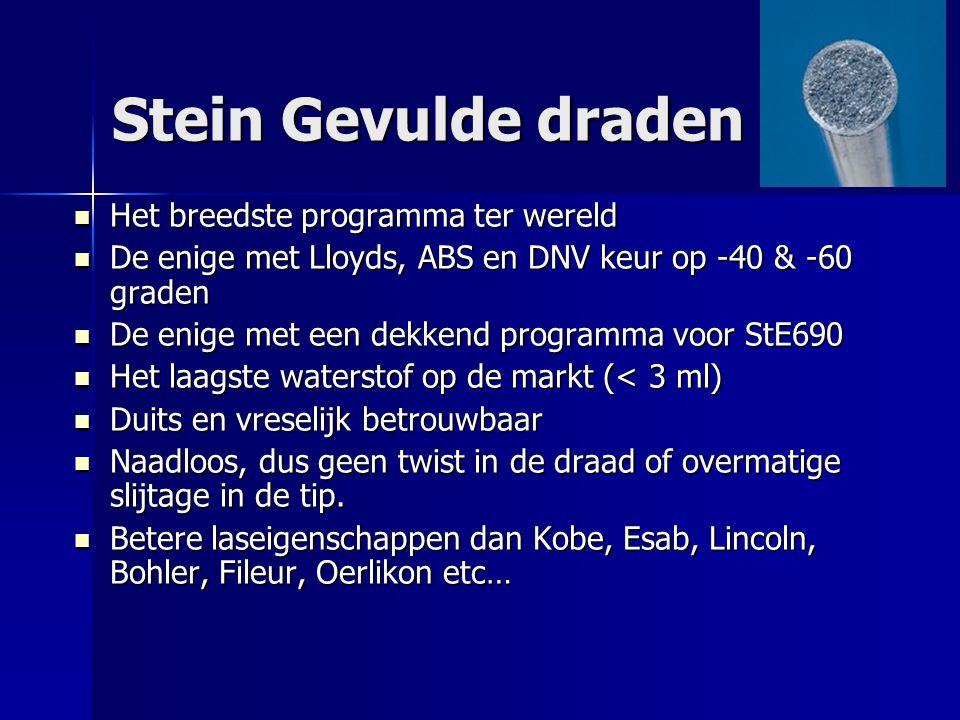 Stein Gevulde draden Het breedste programma ter wereld Het breedste programma ter wereld De enige met Lloyds, ABS en DNV keur op -40 & -60 graden De e