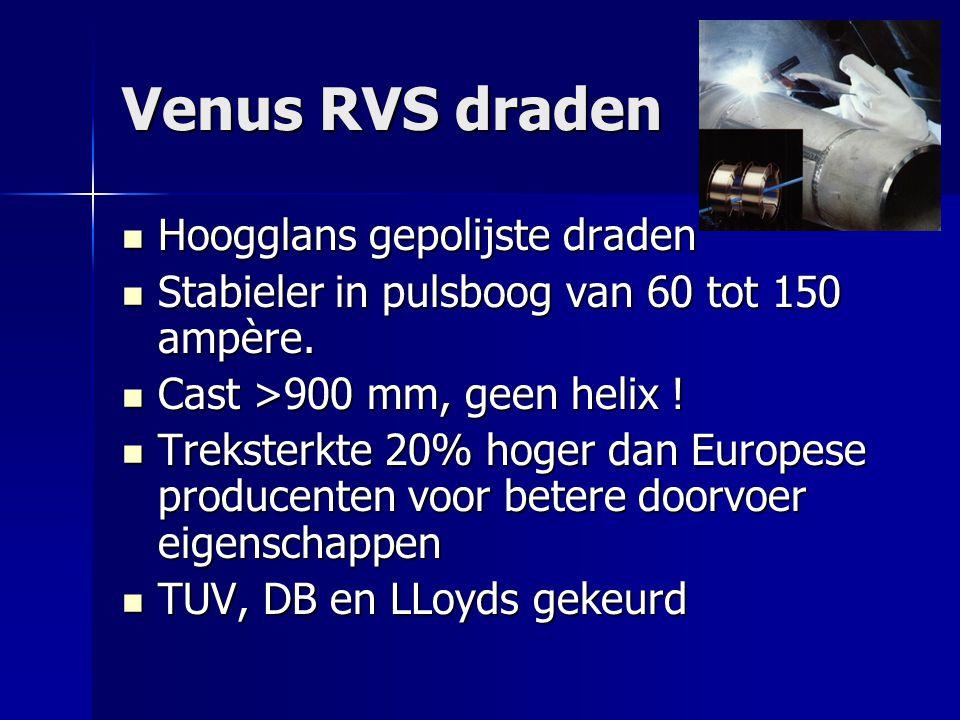 Venus RVS draden Hoogglans gepolijste draden Hoogglans gepolijste draden Stabieler in pulsboog van 60 tot 150 ampère.
