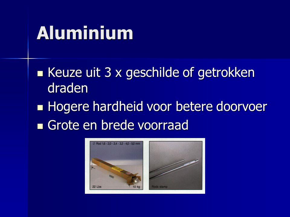 Aluminium Keuze uit 3 x geschilde of getrokken draden Keuze uit 3 x geschilde of getrokken draden Hogere hardheid voor betere doorvoer Hogere hardheid voor betere doorvoer Grote en brede voorraad Grote en brede voorraad