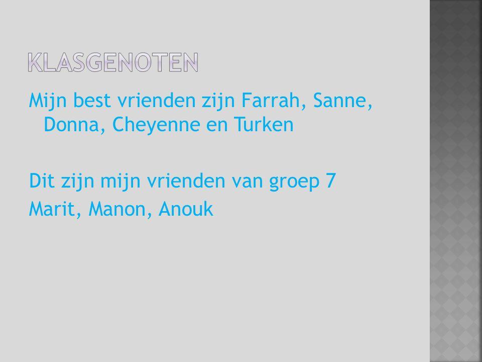 Mijn best vrienden zijn Farrah, Sanne, Donna, Cheyenne en Turken Dit zijn mijn vrienden van groep 7 Marit, Manon, Anouk