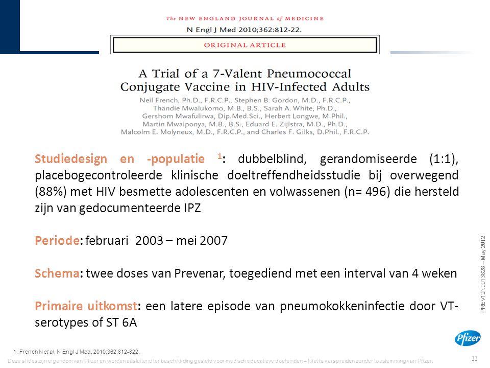 33 PREV12N0013828 – May 2012 Deze slides zijn eigendom van Pfizer en worden uitsluitend ter beschikkding gesteld voor medisch educatieve doeleinden –