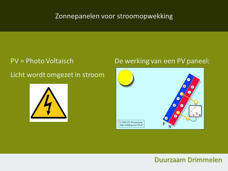 Zonnepanelen voor stroomopwekking Duurzaam Drimmelen PV = Photo Voltaisch Licht wordt omgezet in stroom De werking van een PV paneel: