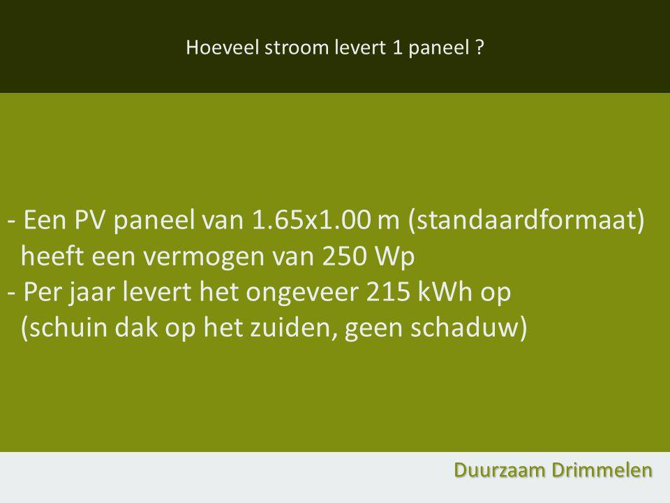 Hoeveel stroom levert 1 paneel ? - Een PV paneel van 1.65x1.00 m (standaardformaat) heeft een vermogen van 250 Wp - Per jaar levert het ongeveer 215 k