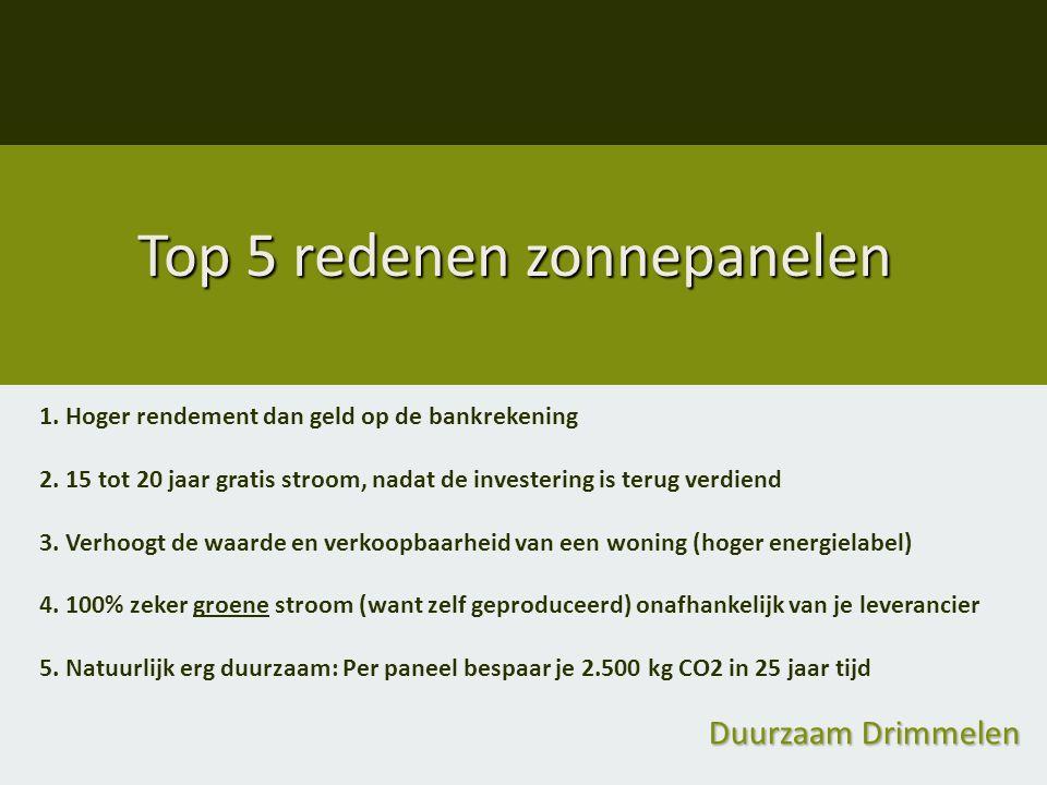 Duurzaam Drimmelen Top 5 redenen zonnepanelen 1. Hoger rendement dan geld op de bankrekening 2. 15 tot 20 jaar gratis stroom, nadat de investering is