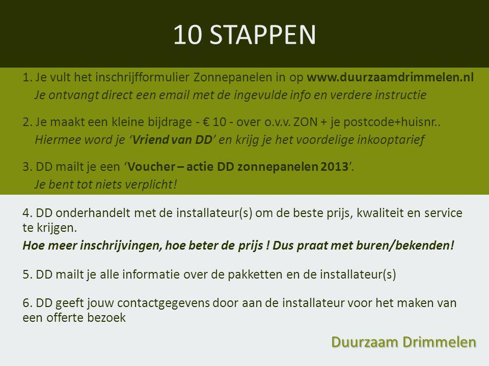10 STAPPEN Duurzaam Drimmelen 1. Je vult het inschrijfformulier Zonnepanelen in op www.duurzaamdrimmelen.nl Je ontvangt direct een email met de ingevu