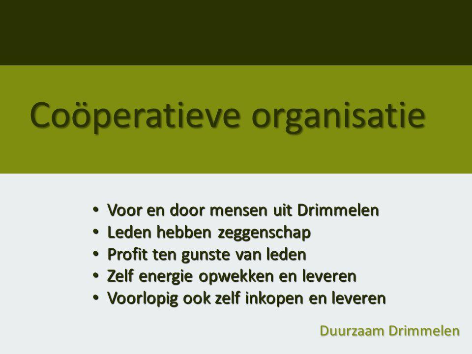Coöperatieve organisatie Voor en door mensen uit Drimmelen Voor en door mensen uit Drimmelen Leden hebben zeggenschap Leden hebben zeggenschap Profit