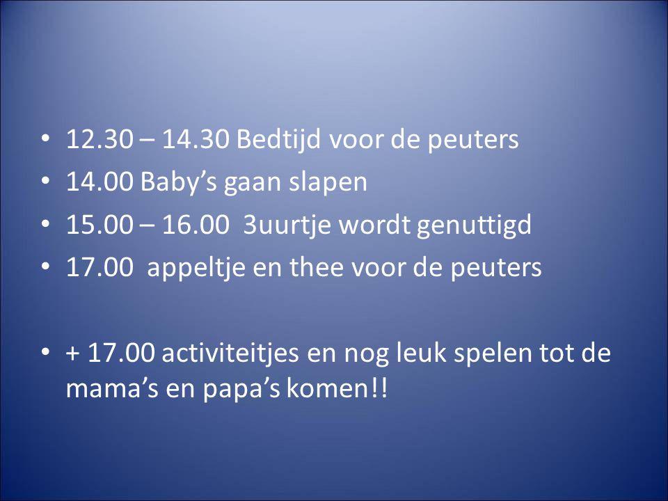 12.30 – 14.30 Bedtijd voor de peuters 14.00 Baby's gaan slapen 15.00 – 16.00 3uurtje wordt genuttigd 17.00 appeltje en thee voor de peuters + 17.00 activiteitjes en nog leuk spelen tot de mama's en papa's komen!!