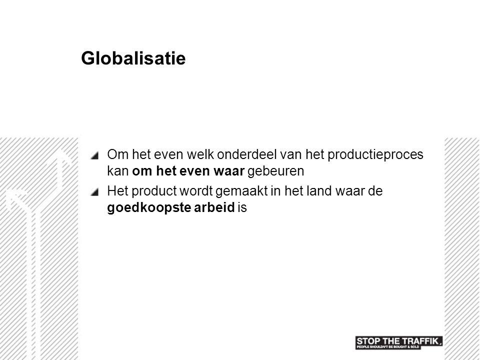 Globalisatie Om het even welk onderdeel van het productieproces kan om het even waar gebeuren Het product wordt gemaakt in het land waar de goedkoopst