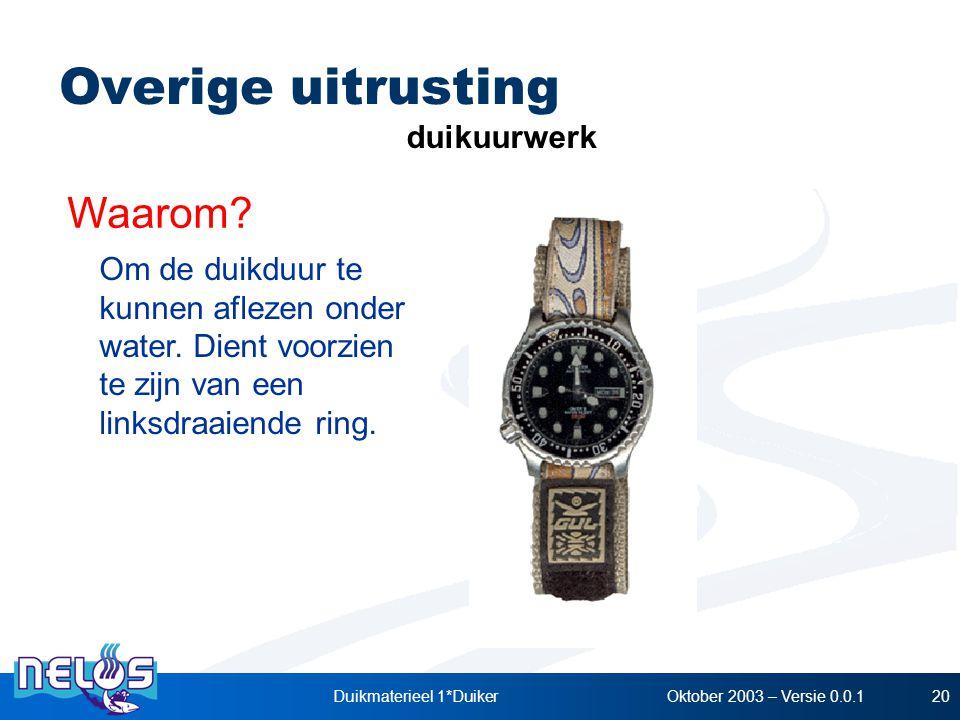 Oktober 2003 – Versie 0.0.1Duikmaterieel 1*Duiker20 duikuurwerk Waarom? Om de duikduur te kunnen aflezen onder water. Dient voorzien te zijn van een l