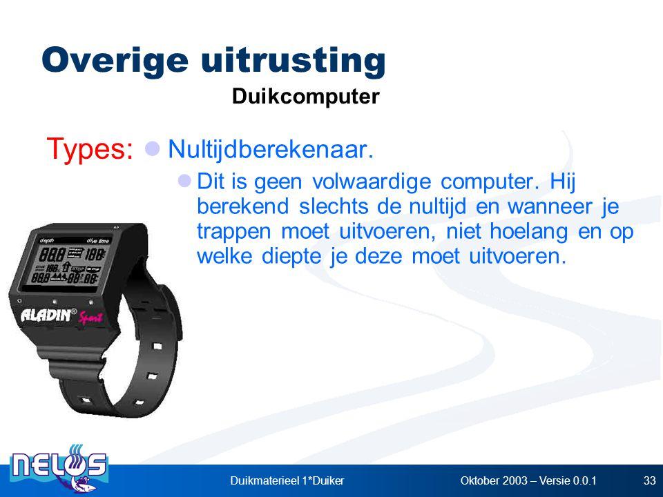 Oktober 2003 – Versie 0.0.1Duikmaterieel 1*Duiker33 Overige uitrusting Types: Duikcomputer Nultijdberekenaar. Dit is geen volwaardige computer. Hij be