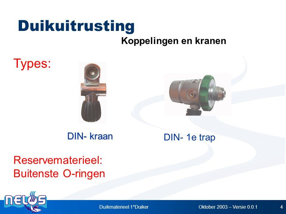 Oktober 2003 – Versie 0.0.1Duikmaterieel 1*Duiker4 DIN- kraan Reservematerieel: Buitenste O-ringen Types: Koppelingen en kranen DIN- 1e trap Duikuitru