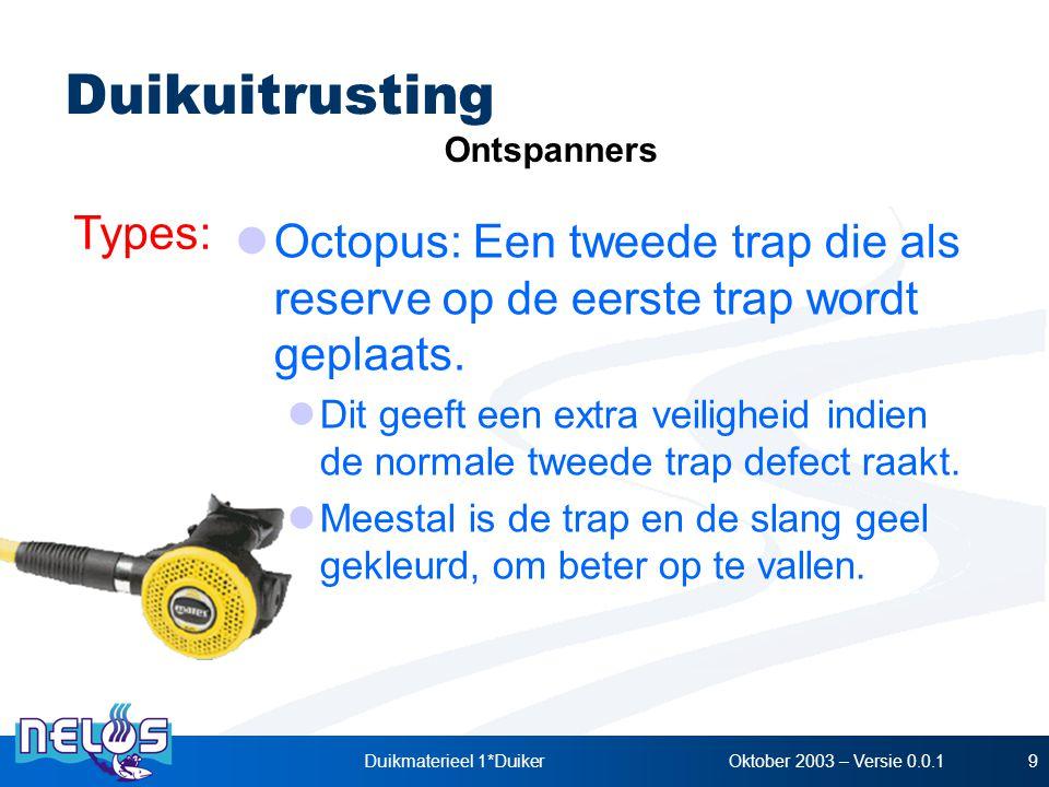 Oktober 2003 – Versie 0.0.1Duikmaterieel 1*Duiker9 Types: Ontspanners Duikuitrusting Octopus: Een tweede trap die als reserve op de eerste trap wordt