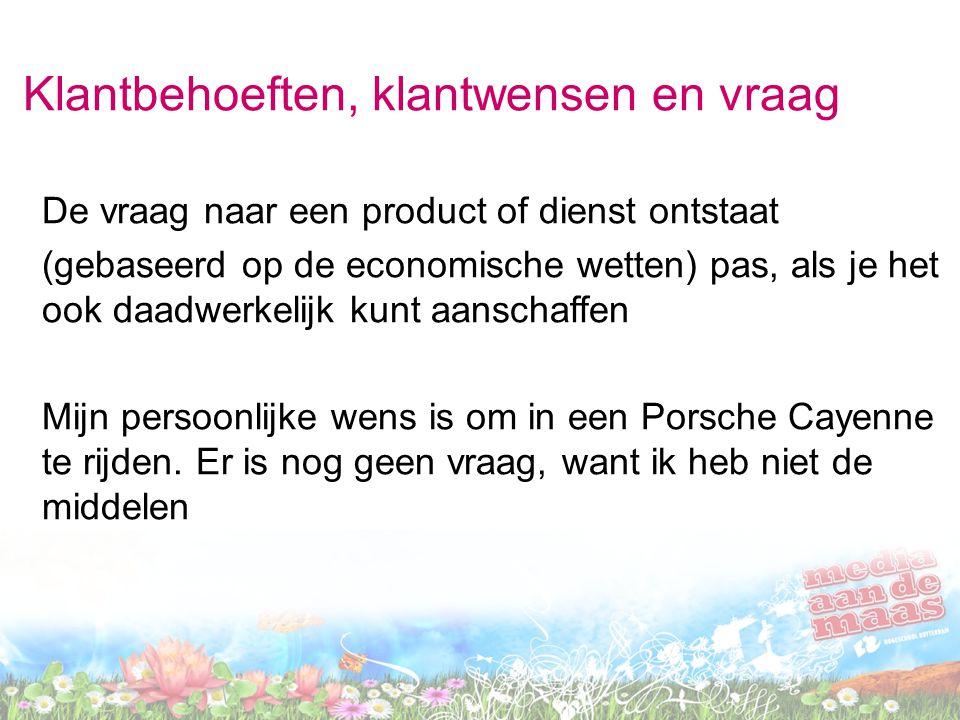 Klantbehoeften, klantwensen en vraag De vraag naar een product of dienst ontstaat (gebaseerd op de economische wetten) pas, als je het ook daadwerkeli