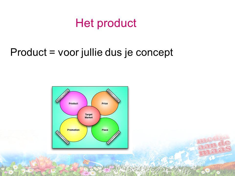 Het product Product = voor jullie dus je concept