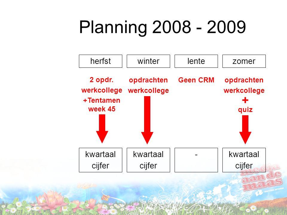 Planning 2008 - 2009 herfstwinterlentezomer 2 opdr. werkcollege +Tentamen week 45 opdrachten werkcollege Geen CRMopdrachten werkcollege quiz + kwartaa