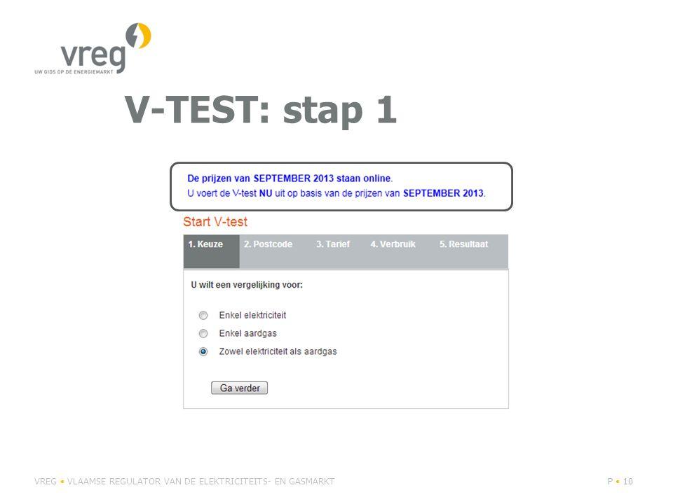 V-TEST: stap 1 VREG VLAAMSE REGULATOR VAN DE ELEKTRICITEITS- EN GASMARKTP 10