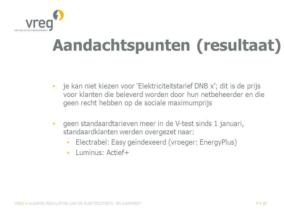 Aandachtspunten (resultaat) je kan niet kiezen voor 'Elektriciteitstarief DNB x'; dit is de prijs voor klanten die beleverd worden door hun netbeheerder en die geen recht hebben op de sociale maximumprijs geen standaardtarieven meer in de V-test sinds 1 januari, standaardklanten werden overgezet naar: Electrabel: Easy geïndexeerd (vroeger: EnergyPlus) Luminus: Actief+ VREG VLAAMSE REGULATOR VAN DE ELEKTRICITEITS- EN GASMARKTP 27