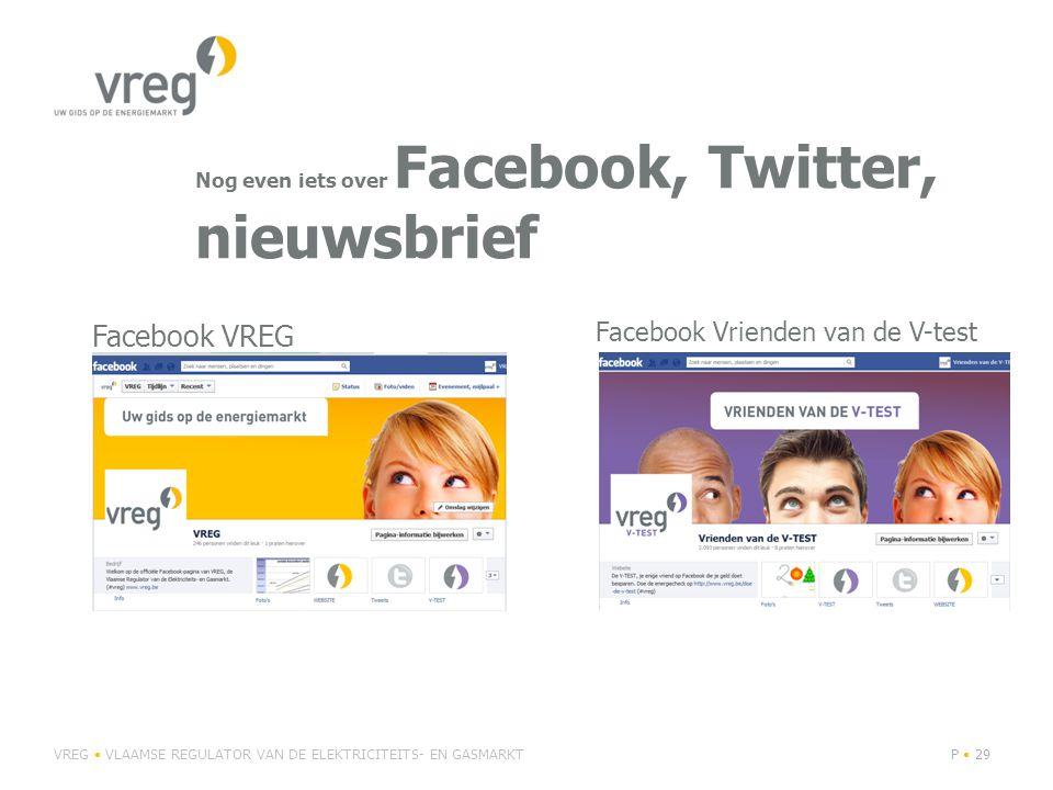 Nog even iets over Facebook, Twitter, nieuwsbrief VREG VLAAMSE REGULATOR VAN DE ELEKTRICITEITS- EN GASMARKTP 29 Facebook VREG Facebook Vrienden van de V-test