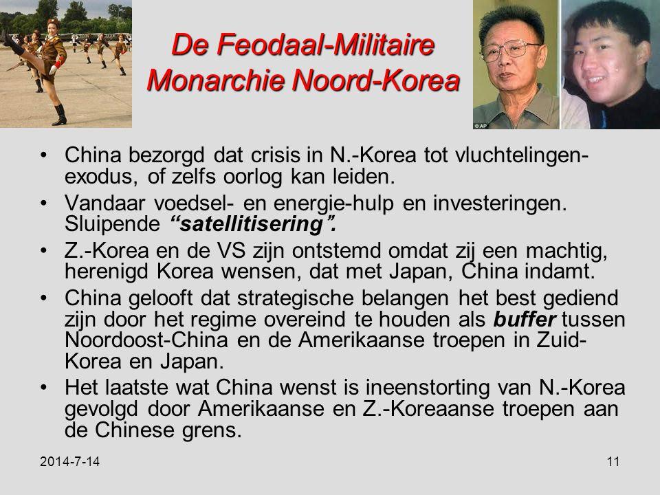 De Feodaal-Militaire Monarchie Noord-Korea China bezorgd dat crisis in N.-Korea tot vluchtelingen- exodus, of zelfs oorlog kan leiden.