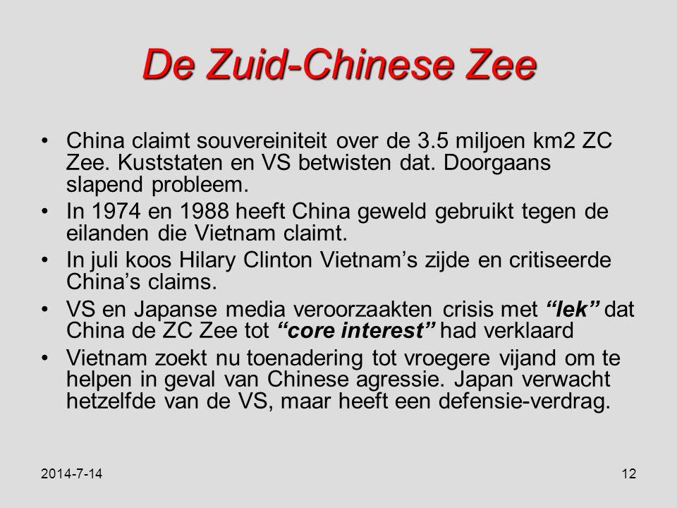 De Zuid-Chinese Zee China claimt souvereiniteit over de 3.5 miljoen km2 ZC Zee.