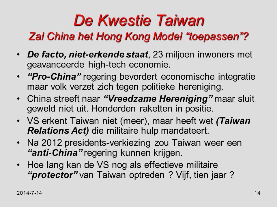 De Kwestie Taiwan Zal China het Hong Kong Model toepassen .
