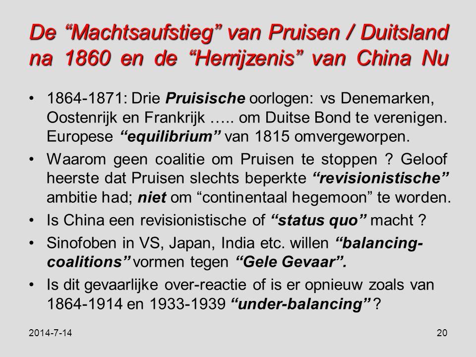 De Machtsaufstieg van Pruisen / Duitsland na 1860 en de Herrijzenis van China Nu 1864-1871: Drie Pruisische oorlogen: vs Denemarken, Oostenrijk en Frankrijk …..