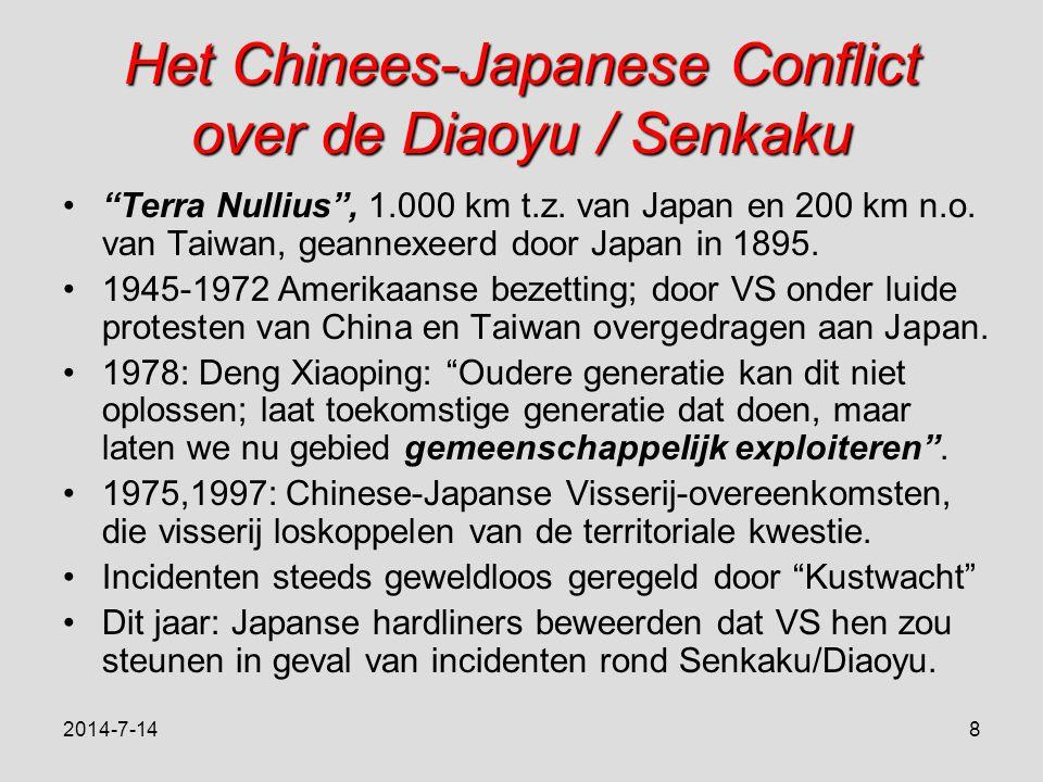 Het Chinees-Japanese Conflict over de Diaoyu / Senkaku Terra Nullius , 1.000 km t.z.