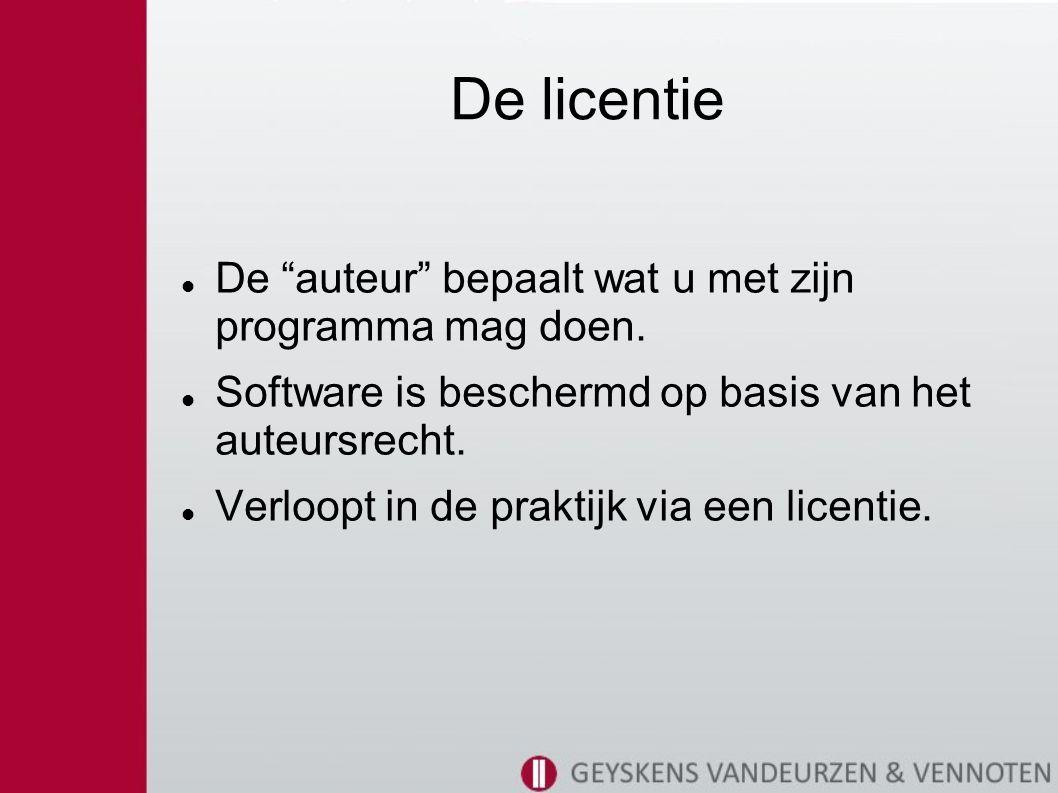 De licentie De auteur bepaalt wat u met zijn programma mag doen.