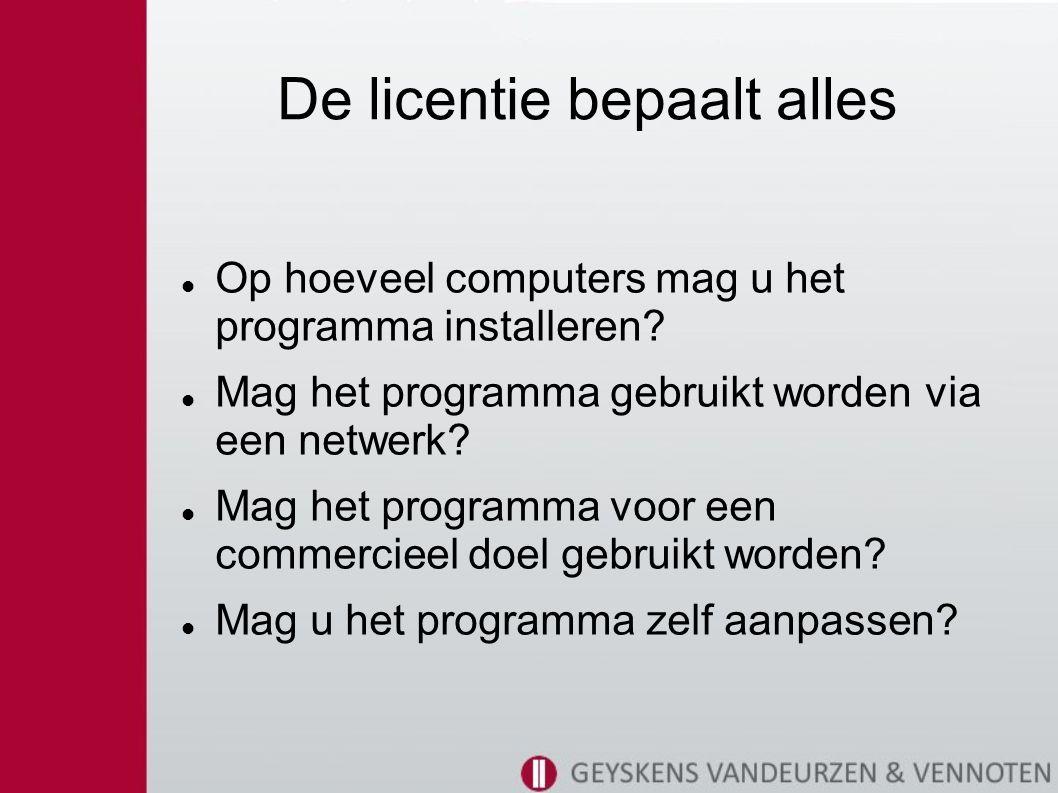 De licentie bepaalt alles Op hoeveel computers mag u het programma installeren.