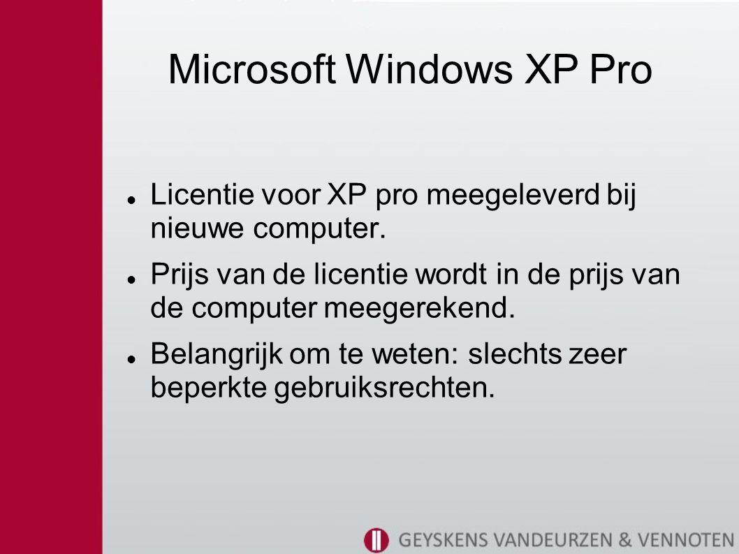 Microsoft Windows XP Pro Licentie voor XP pro meegeleverd bij nieuwe computer.