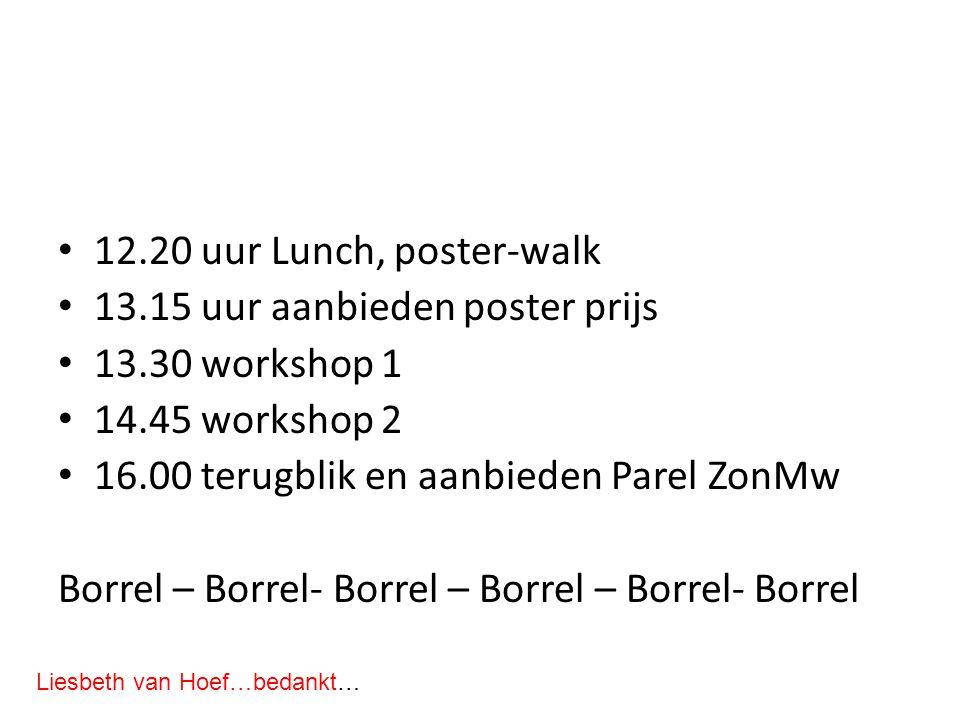 12.20 uur Lunch, poster-walk 13.15 uur aanbieden poster prijs 13.30 workshop 1 14.45 workshop 2 16.00 terugblik en aanbieden Parel ZonMw Borrel – Borrel- Borrel – Borrel – Borrel- Borrel Liesbeth van Hoef…bedankt…