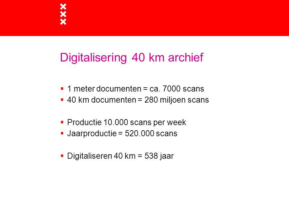 Doelstelling digitalisering Archiefbank  Alle openbare documenten die klanten willen raadplegen 24 uur per dag overal ter wereld beschikbaar  Snel = binnen 14 dagen  Goedkoop = prijs maximaal 0,50 per scan