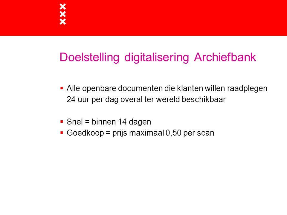 Doelstelling digitalisering Archiefbank  Alle openbare documenten die klanten willen raadplegen 24 uur per dag overal ter wereld beschikbaar  Snel =