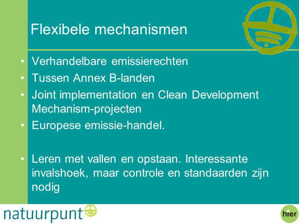 Flexibele mechanismen Verhandelbare emissierechten Tussen Annex B-landen Joint implementation en Clean Development Mechanism-projecten Europese emissie-handel.