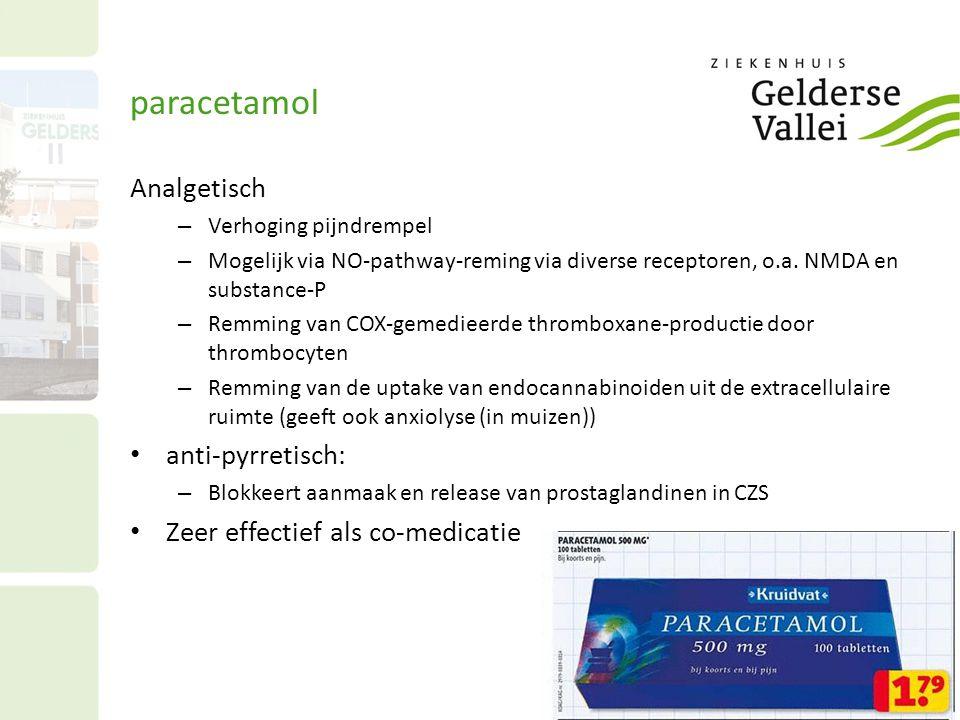 paracetamol Analgetisch – Verhoging pijndrempel – Mogelijk via NO-pathway-reming via diverse receptoren, o.a. NMDA en substance-P – Remming van COX-ge