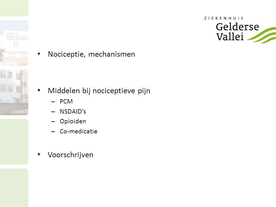 Nociceptie, mechanismen Middelen bij nociceptieve pijn – PCM – NSDAID's – Opioiden – Co-medicatie Voorschrijven