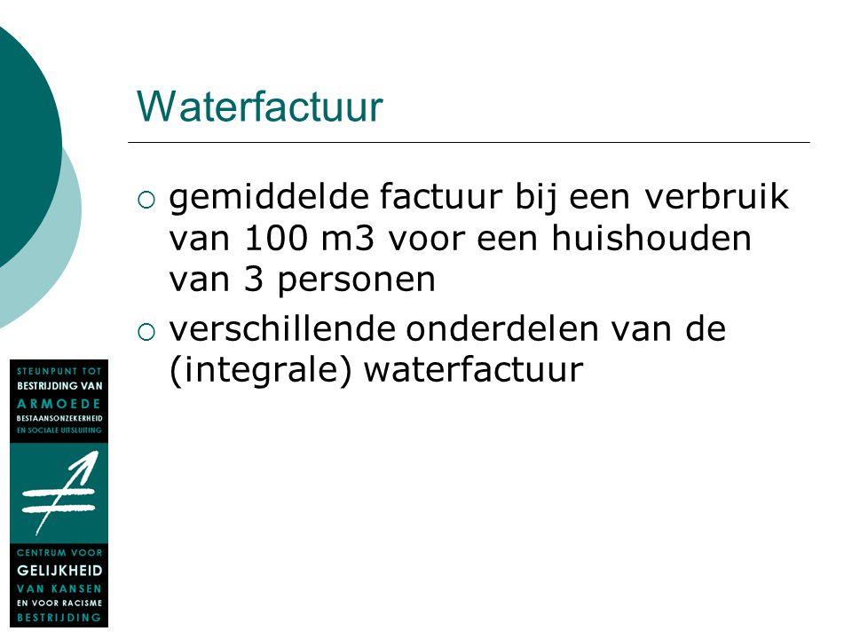 Waterfactuur  gemiddelde factuur bij een verbruik van 100 m3 voor een huishouden van 3 personen  verschillende onderdelen van de (integrale) waterfa