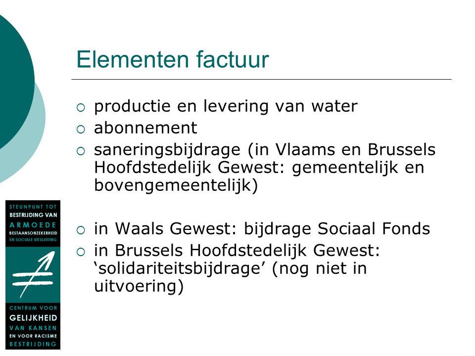 Elementen factuur  productie en levering van water  abonnement  saneringsbijdrage (in Vlaams en Brussels Hoofdstedelijk Gewest: gemeentelijk en bov