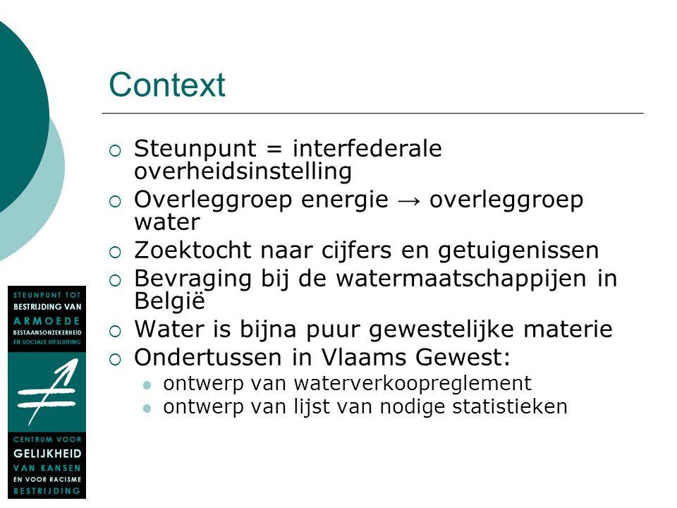 Context  Steunpunt = interfederale overheidsinstelling  Overleggroep energie → overleggroep water  Zoektocht naar cijfers en getuigenissen  Bevrag