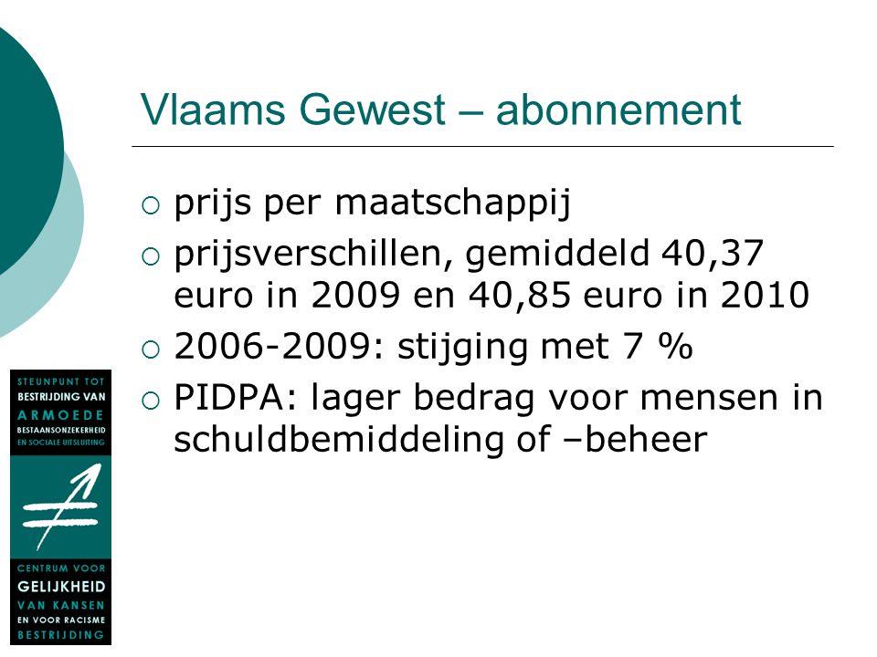 Vlaams Gewest – abonnement  prijs per maatschappij  prijsverschillen, gemiddeld 40,37 euro in 2009 en 40,85 euro in 2010  2006-2009: stijging met 7