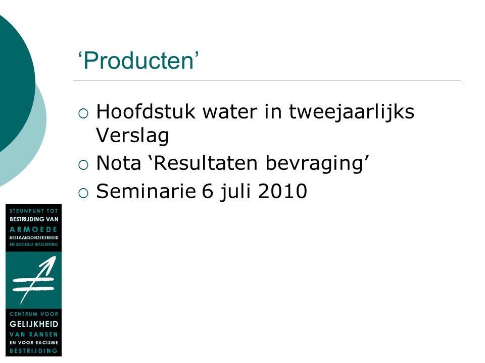 Waals Gewest – productie en levering van water (CVD)  prijs per maatschappij, drie schijven eerste schijf: van 0 tot 30 m 3 tweede schijf: van 30 tot 5000 m 3 derde schijf: boven 5000 m 3
