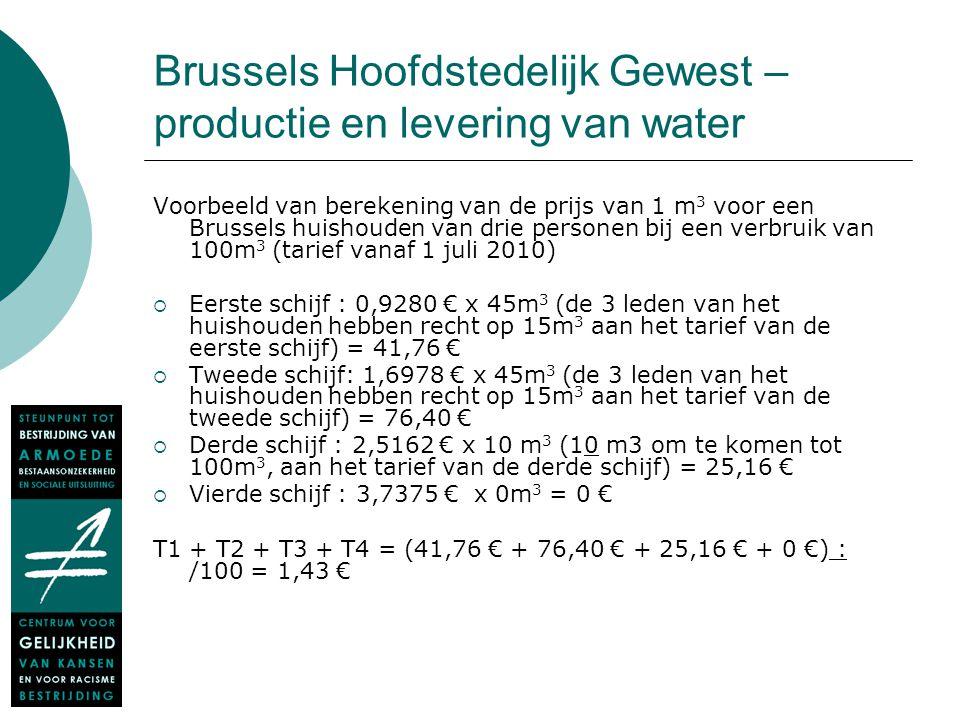 Brussels Hoofdstedelijk Gewest – productie en levering van water Voorbeeld van berekening van de prijs van 1 m 3 voor een Brussels huishouden van drie