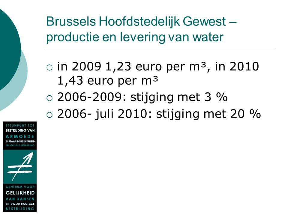 Brussels Hoofdstedelijk Gewest – productie en levering van water  in 2009 1,23 euro per m³, in 2010 1,43 euro per m³  2006-2009: stijging met 3 % 