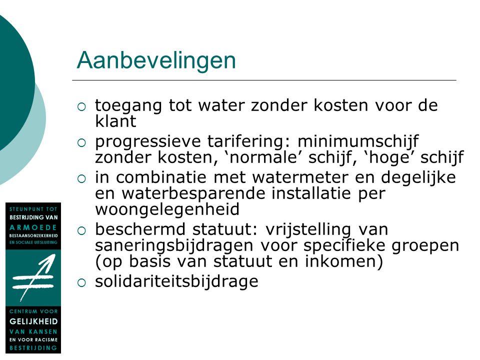 Aanbevelingen  toegang tot water zonder kosten voor de klant  progressieve tarifering: minimumschijf zonder kosten, 'normale' schijf, 'hoge' schijf