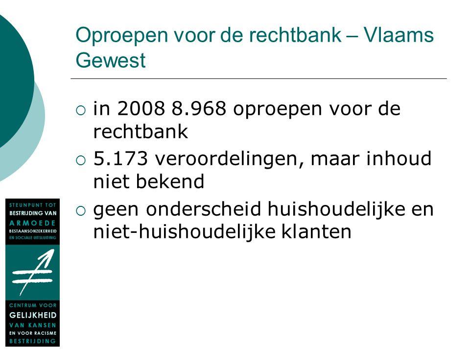 Oproepen voor de rechtbank – Vlaams Gewest  in 2008 8.968 oproepen voor de rechtbank  5.173 veroordelingen, maar inhoud niet bekend  geen ondersche