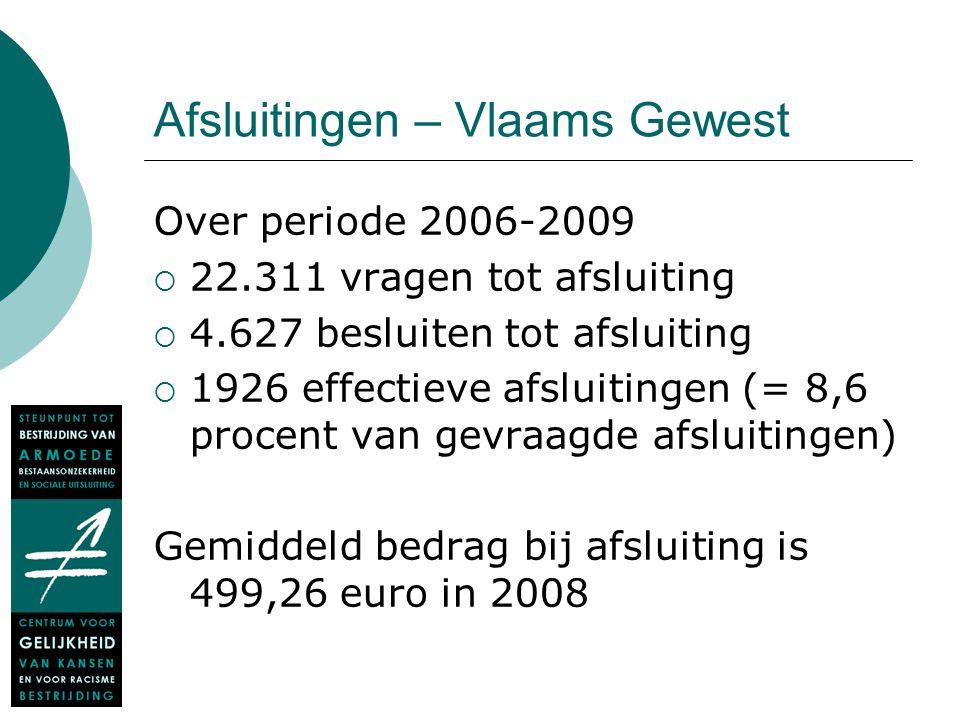 Afsluitingen – Vlaams Gewest Over periode 2006-2009  22.311 vragen tot afsluiting  4.627 besluiten tot afsluiting  1926 effectieve afsluitingen (=