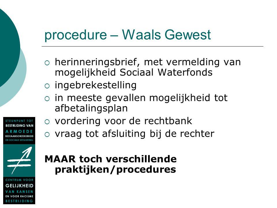 procedure – Waals Gewest  herinneringsbrief, met vermelding van mogelijkheid Sociaal Waterfonds  ingebrekestelling  in meeste gevallen mogelijkheid